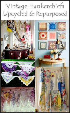 Dishfunctional Designs: Vintage Handkerchiefs & Scarves Upcycled and Repurposed Fabric Crafts, Sewing Crafts, Sewing Projects, Diy Crafts, Fall Crafts, Handkerchief Crafts, Handkerchief Dress, Vintage Handkerchiefs, Vintage Tablecloths