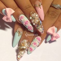 Chic nail design on stiletto nails Pink Stiletto Nails, Bling Nails, Swag Nails, Pastel Nails, Acrylic Nails, Fabulous Nails, Gorgeous Nails, 3d Flower Nails, 3d Nail Designs