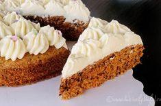 Prajitura cu morcovi Vanilla Cake, Desserts, Food, Mascarpone, Postres, Deserts, Hoods, Meals, Dessert