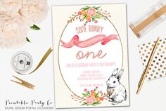 Some Bunny Is Turning One Year Invite, First Birthday, Fifth Birthday, Baby Shower,  DIY Printable, Customizable Invitation, Easter, Spring by PrintablePartyCo on Etsy https://www.etsy.com/listing/224582670/some-bunny-is-turning-one-year-invite