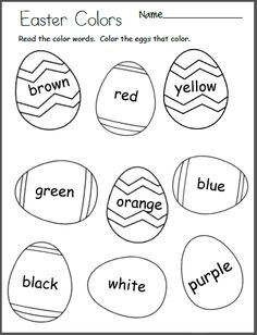 Free Easter Egg Color Worksheet for preschool and kindergarten. Students read the color words on each egg and color the eggs. Easter Activities For Preschool, Color Worksheets For Preschool, Easter Worksheets, Pre K Worksheets, Preschool Colors, Free Kindergarten Worksheets, Free Preschool, Holiday Activities, Printable Worksheets