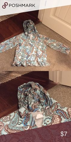 Sew Blessed Hooded Tunic turquoise and brown paisley• super cute and machine washable• Sew Blessed Shirts & Tops