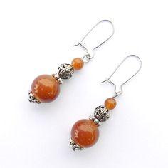 Boucles d'oreilles perles en verre marron