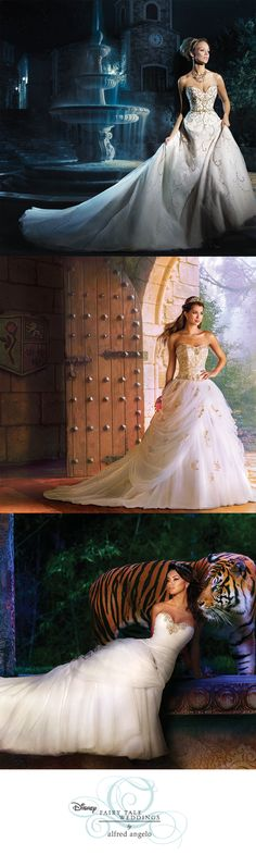 Visions of happily ever after come to life with the enchanting princess wedding dresses in Alfred Angelo's Fairy Tale Bridal Collection. Pretty Wedding Dresses, Disney Wedding Dresses, Disney Dresses, Princess Wedding Dresses, Beautiful Dresses, Wedding Disney, Princess Fairytale, Fairytale Weddings, Princess Disney