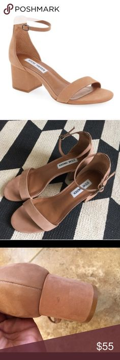 """Steve Madden Irenee Tan velvet suede, size 9.5, true to size, adjustable ankle strap, 2"""" block heel, please notice small spot on heel, not noticeable when wearing, no trades Steve Madden Shoes Sandals"""