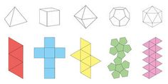 Illustration about Five platonic solids, three-dimensional figures and corresponding nets. Isolated vector illustration over white background. Illustration of pink, object, dimensional - Solids Paper Model Template Stock Vector - Ill Diy Origami, Paper Crafts Origami, Diy Paper, Eco Deco, Platonic Solid, Paper Wall Art, Concrete Crafts, 3d Shapes, Paper Models