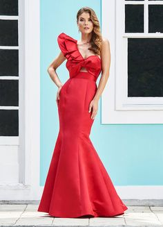 9b7c78975d1 Ashley Lauren One Shoulder Evening Dress with Bow