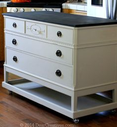 DIY recycle dresser to kitchen island conversion
