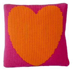 Playful and charming acrylic wool heart pillow, wool home accessories and decor. Orange hot pink