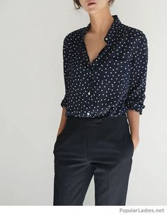 a91982deb4b Black pants and a polka dot shirt