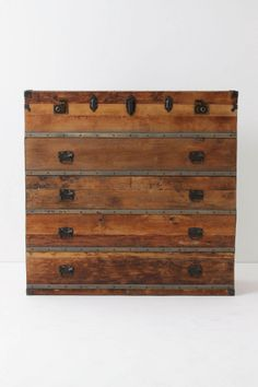 breathtaking!! and if it was from anywhere but anthro I might be able to afford it! I love the clean lines and rustic wood and hardware.#chest #wood