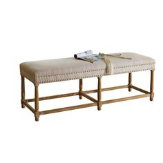 Jett French Inspired Beige Fabric Upholstered And Nail Heads Trimmed Bench - Overstock Shopping - Great Deals on Baxton Studio Benches