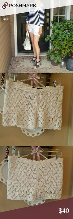 """NWT Blu Moon Lined, White Crocheted Shorts These NWT Blu Moon Lined, White Crocheted Shorts have an adjustable drawstring waist. They are 100% cotton. Length is 12"""" from waist to bottom of shorts. Front and back inseam is 10"""". Blu Moon Shorts"""