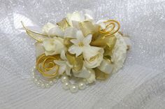 prom bouquets gold   White and Gold Corsage « McCabe's Greenhouse and Floral