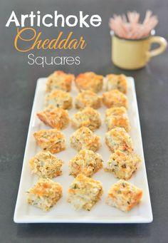 Easy baked artichoke cheddar squares make a great party appetizer. pinchmysalt.com