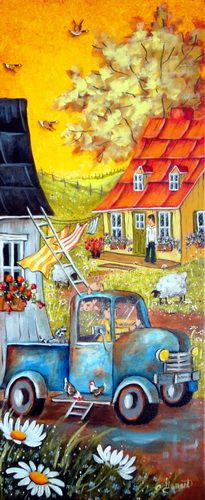 Galerie d'Art Christine Genest Arte Country, Acrylic Artwork, Cottage Art, Paintings I Love, Naive Art, Fabric Painting, Rock Art, Painting Inspiration, Art Lessons