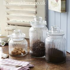 Glass Storage Jars - Set of 3