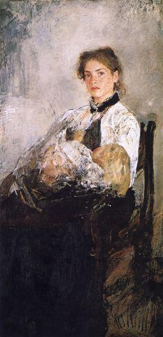 The Athenaeum - Portrait of Nadezhda Derviz and Her Child (Valentin Serov - )
