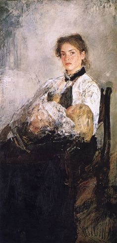 The Athenaeum - Portrait of Nadezhda Derviz and Her Child (Valentin Serov - )