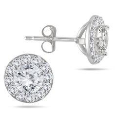 Gorgeous round-cut diamonds are prong-set on each of these classic stud earrings. Crafted of 14k white gold, these versatile earrings feature a polished finish and secure easily with butterfly clasps.