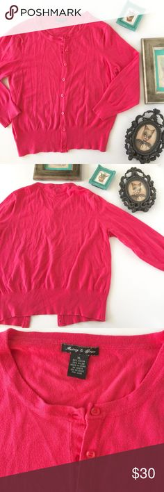 Audrey & Grace Hot Pink Cardigan In excellent condition.  Elbow sleeves.  Lovely color. Sadly, too big for me. audrey & grace  Sweaters Cardigans