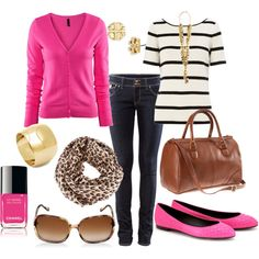 "pink+stripes+print+gold jewelry+skinny jeans+brown bag +big sunglasses= oh my gosh aim totally in love with this outfit!! i swear its like they read my mind and said ""ok we are now going to make this for olivia bess henthorn"" !!!!!!!"