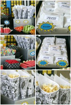 The Crafted Sparrow: Superhero Birthday Party. Like this snack table for the kids Avengers Birthday, Batman Birthday, Boy Birthday, Birthday Ideas, Birthday Parties, Superhero Party Food, Superman Party, Superhero Photo Booth, Comic Book Parties