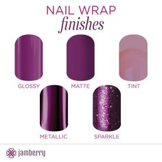 Nail wrap finishes. 5 finishes, hundreds of designs! http://www.aubreymueller.jamberrynails.net/shop