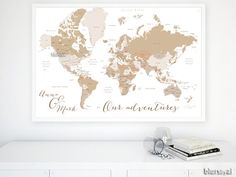 Custom quote, color & size PRINTABLE world map. Custom world map with country names, US state names... DIY travel pinboard map - map140