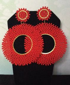 Post Red Hoop Earrings Beaded Stud Earrings by WorkofHeart on Etsy Seed Bead Earrings, Beaded Earrings, Etsy Earrings, Beaded Jewelry, Crochet Earrings, Seed Beads, Hoop Earrings, Mother Of Pearl Earrings, Seashell Jewelry