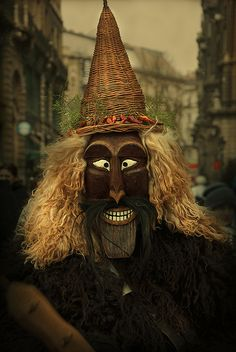 """""""Masked Busós"""" ~ by Istvan KADAR. The Busójárás (""""Busó-walking"""") is an annual celebration of the Šokac (Croatians) living in the town of Mohács, Hungary, held at the end of the Carnival season (""""Farsang""""), ending the day before Ash Wednesday. Halloween Ii, Scary Monsters, Family Roots, Historical Artifacts, Masks Art, Green Man, Deities, Folklore, Hungary"""