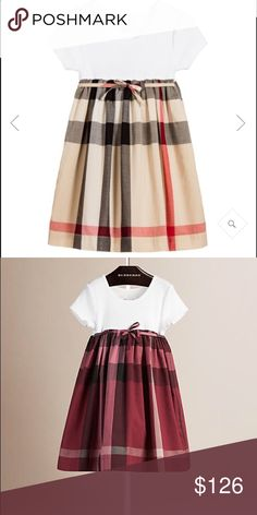 Girls Burberry dress I have 3 Burberry dresses  1. Original Burberry pattern size 6-8 but fits like a 6/7 in kids  2. I have 2 of the burgundy pattern just like the dress shown in picture but pattern color is burgundy size 6-8 and 4-6  Remember Burberry goes by age    I will say that the size 6-8 fits like size 6/7  And size 4-6 fits like a 5     Depending on the height of your child if you have any question please feel free to ask  the price listed in per dress if you buy more than one we…