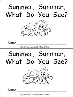 "This emergent reader little book is a great way to begin reading with young students.     This story uses a predictable pattern, ""Summer, summer, what do you see?"" to support emerging readers. This story includes several summer vocabulary words, such as sun, swimming pool, seashell, watermelon, beach ball, picnic basket, and fireworks."