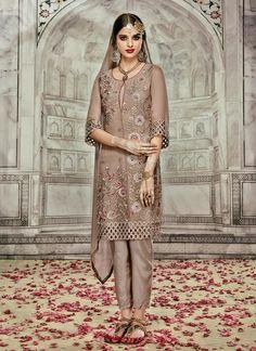Brown Georgette Designer Suit