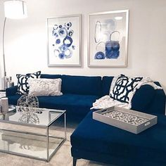 via sapphire infuses bold sparks of energy into your home decor. Loving this luxe living room! Blue Couch Living Room, Navy Living Rooms, Living Room Colors, Home Living Room, Apartment Living, Blue Living Room Furniture, Interior Design Living Room, Living Room Designs, Living Room Inspiration