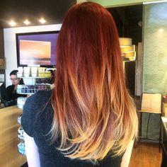 Balayage red to blonde! By Allison @ Five Salon, Omaha NE