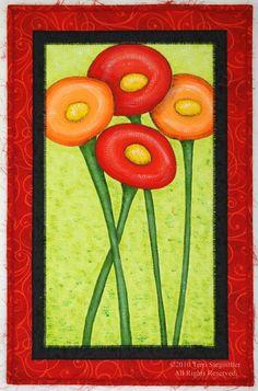 Poppy Mix Art Quilt. $75.00, via Etsy.