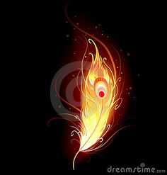 Illustration of artistically drawn, flaming phoenix feather on a black background. vector art, clipart and stock vectors. Phoenix Artwork, Phoenix Drawing, Phoenix Images, Phoenix Painting, Phoenix Wallpaper, Lord Shiva Painting, Krishna Painting, Krishna Art, Phoenix Feather Tattoos