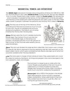 Medieval Times/Middle Ages Feudal System Overview with Art
