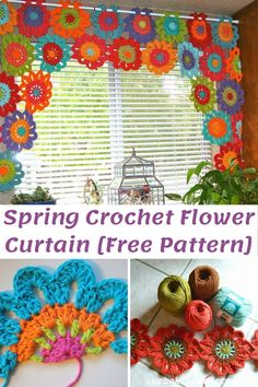 Crochet Lace Edging, Crochet Flower Patterns, Crochet Designs, Crochet Flowers, Crochet Borders, Crochet Squares, Crochet Curtain Pattern, Crochet Curtains, Curtain Patterns