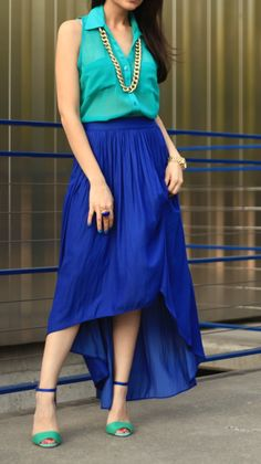 Blue and green color block