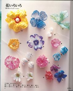 How to make wonderful flowers out of recycled plastic containers. Japanese magazine.