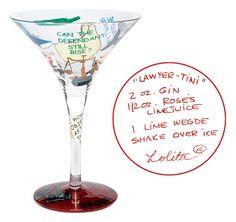 Lawyer-tini martini glass and recipe