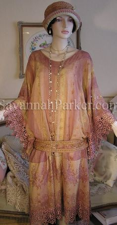 """Newest """"Downton Abbey"""" dusty rose and golden beige embroidered dress and cloche hat by Savannah Parker"""