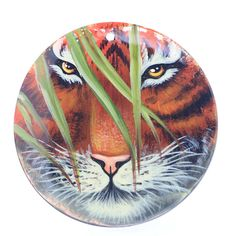 HAND PAINTED TIGER WILDLIFE NATURAL MOP MOTHER OF PEARL PENDANT ZP3000014 #ZL #PENDANT