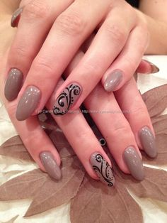 Acrylic overlays with wild mink gelux gel polish and black freehand nail art