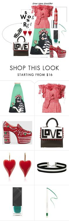 """""""So Wrong its Right"""" by kelly-floramoon-legg ❤ liked on Polyvore featuring Alice + Olivia, Rosie Assoulin, Gucci, Les Petits Joueurs, Miss Selfridge, Burberry, Givenchy, Clinique, polyvorecontest and showsomeshoulder"""