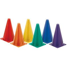 Champion Sports Hi Visibility Fluorescent Plastic Cone Set, Set of 6  Set of six colors  Weighted base  Fluorescent colors  Height of nine inches  Use as a field or goal marker, high visibility fluorescent plastic construction  Nine inch height, set of six cones. (1 of each) Green, Orange, Purple, Red, Royal Blue and Yellow  Weighted base for stability