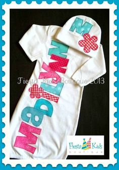 Personalized baby girl GOWN and HAT set - newborn outfit - coming home baby -