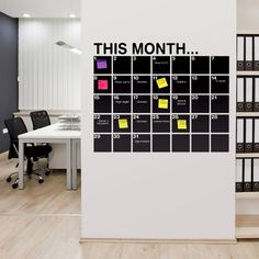 Great idea for a home office, chalkboard calender with (colour-coded obviously) sticky notes for dates/events or assignments Office Interior Design, Home Office Decor, Office Interiors, Office Ideas, Office Workspace, Office Walls, Chalkboard Wall Calendars, Chalkboard Vinyl, Blackboard Wall